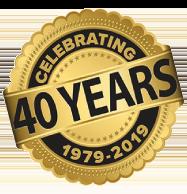 celebrating 40 years badge